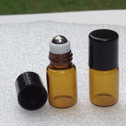 10 AMBER Glass 2ml Roll-on Bottles Essential Oil Roller Ball