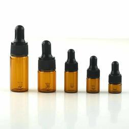 10PCS 1ml-10ml Amber Glass Empty Essential Oil Dropper Bottl