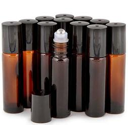 12 Pack,10 ml AMBER Glass Essential Oil Roller Bottle + Remo