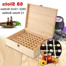 15/68 Slots Essential Oil Case Wooden Storage Box Carry Orga
