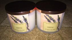 2 New Bath and Body Works Myrrh 3 Wick Candles! 14.5oz! Esse