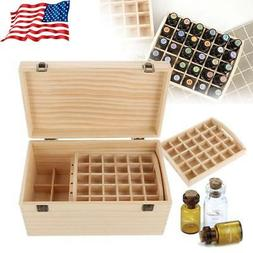 2 Tier Essential Oil Box Case Wood Storage Carry Aromatherap