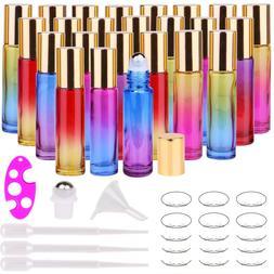 24 10ml THICK Glass Roller Bottles Roll on Bottle Gradient C