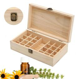 24 Slot Essential Oil Storage Box Wooden Case Container Orga