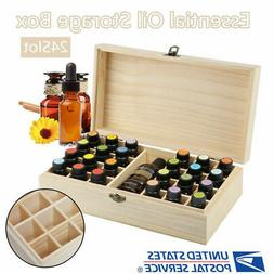 24 Slots Essential Oil Storage Box Wooden Case Container Org