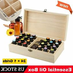 25 Slots Essential Oil Storage Box Wooden Case Wood Containe