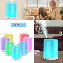2PCS/Set LED RGB Smart Home Ultrasonic Aroma Essential Oil D