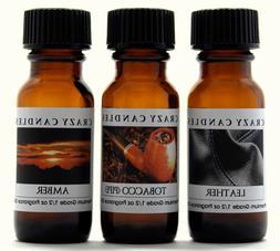 3 Oils 1 Leather, 1 Tobacco , 1 Amber 1/2oz Premium Scented