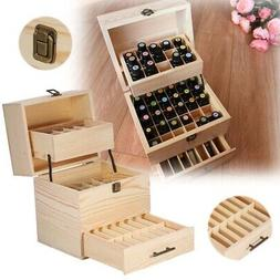 3 Tier 59 Slots Essential Oil Box Case Wood Storage Carry Ar