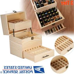 New Essential Oil Wooden Box Multi-Tray Organizer - 3 Tiers