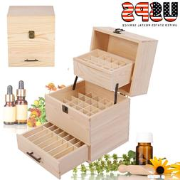 3 Tiers Essential Oil Storage Box Case Wood Container Organi