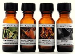 4 Oils Leather, Campfire, Tobacco, Sandalwood 1/2oz Premium