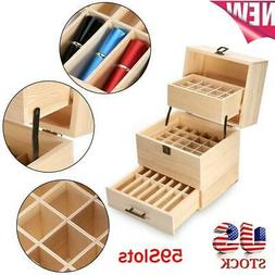 59Slots Essential Storage Box Wooden Oil Case Organizer Cont