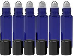 6 Pack - Roll on Glass Bottle - Blue 10ml 1/3oz Size for Ess