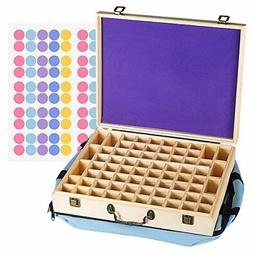 Bekith 72 Slot Wooden Essential Oil Storage Box - Holds 64 5