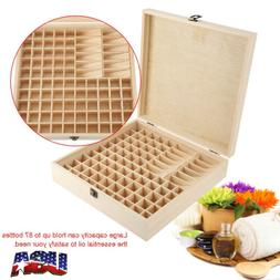87 Slots Essential Oil Case Wooden Storage Box Carry Organiz