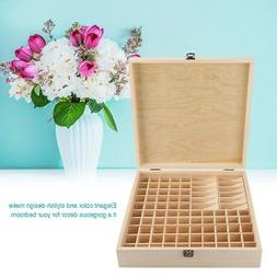 87 Slots Large Essential Oil Wooden Storage Holder Box Case