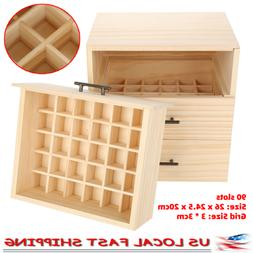 90 slots three tiered wooden essential oil