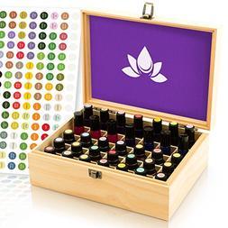 Essential Oil Box - Wooden Storage Case Holds 35 Bottles & T