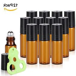 Olilia 5ml Amber Glass Essential Oils Roller Bottles with St
