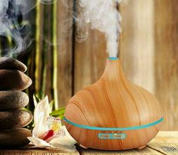Aroma Air Humidifier Essential Oil Diffusers Wood Grain LED