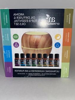 Artnaturals Aroma Oil Diffuser & Top 8 Essential Oil Set New