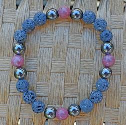 Aromatherapy Bracelet Essential Oil Diffuser Pink Gray Rhodo