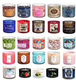 BATH AND BODY WORKS 3 WICK CANDLES WHITE BARN BIG SELECTION