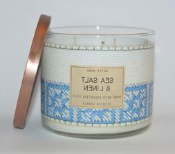 BATH BODY WORKS SEA SALT LINEN SCENTED CANDLE 3 WICK LARGE 1