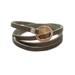 """Wrapped"" Brown Leather Essential Oil Bracelet"
