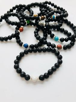 Calming Essential Oil Aromatherapy Lava Stone Bracelet 10 Co