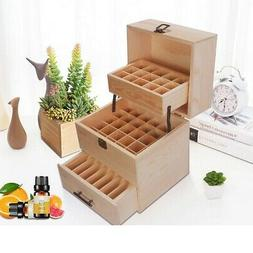 Compact Essential Oil Storage Box Wooden Case Container Orga