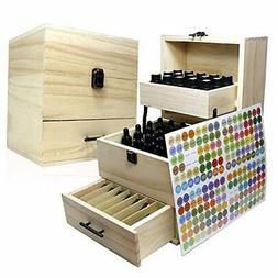 Essential Oil Wooden Box Multi-Tray Organizer, 3 Tiers Stora