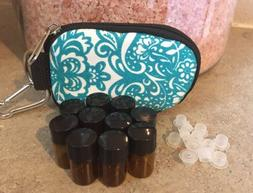 ESSENTIAL OILS KEYCHAIN CASE...10 SAMPLE BOTTLES INCLUDED..T