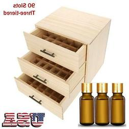 Gift 90 Slots Three-tiered Essential Oil Bottle Container Wo