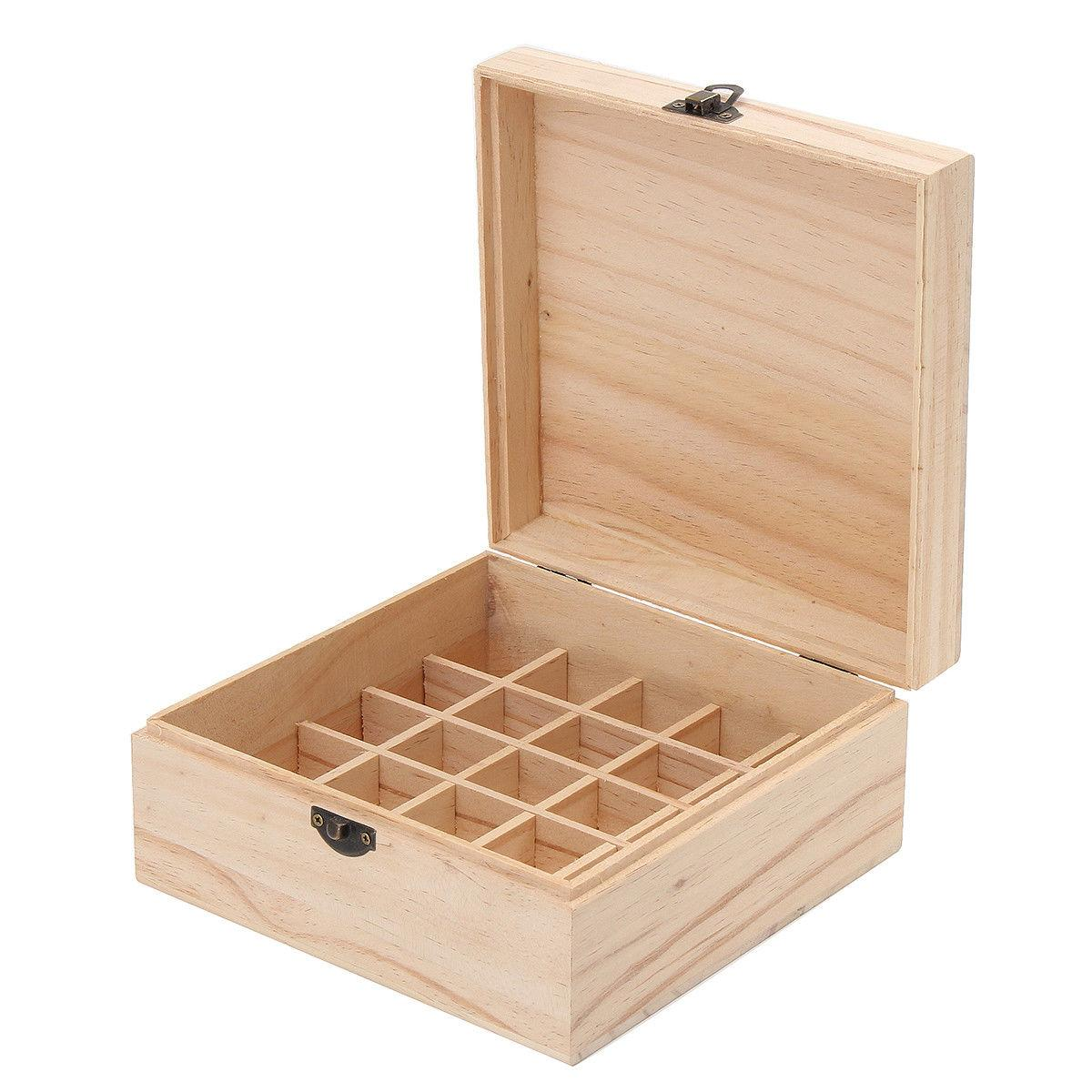 25 Bottle Essential Oil Wooden Box Large Organizer Wood Stor