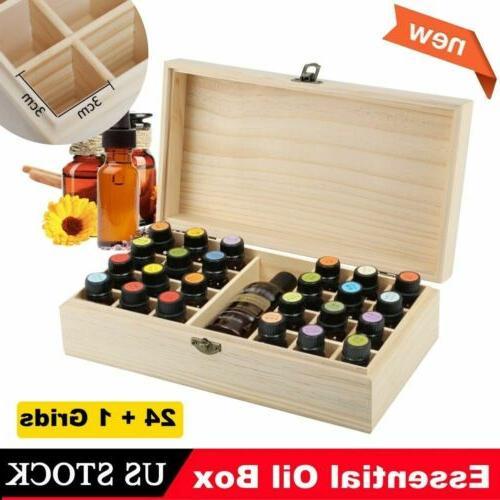 25 slots essential oil storage box wooden