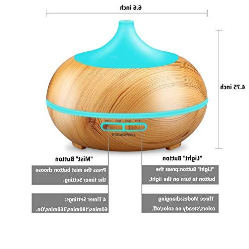 URPOWER Essential Diffuser 300ml Wood Grain Cool Mist Humidifier with Color LED Lights Changing & Settings, for Spa Baby Home