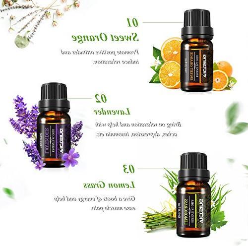 VicTsing Oils Set, 6 Pure Therapeutic Grade Essential Set