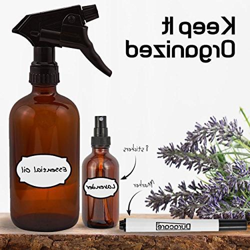 Duracare Amber Spray Bottles Trigger w/Screw 3 Sprayers, Roller Bottles Washable and