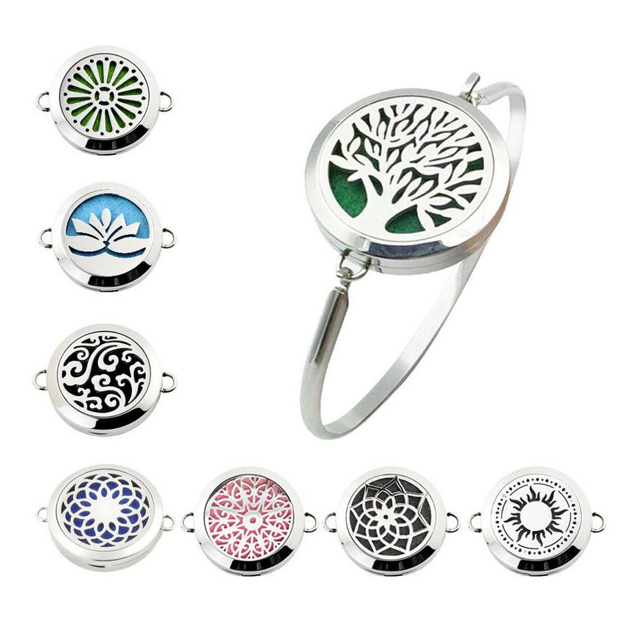 Aromatherapy Locket Bracelet Bangle Fashion Silver Steel Ess