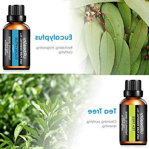 URbeauty 6 Aromatherapy Essential Diffuser Essential Oils Pure Lavender, Peppermint, Orange, Lemongrass Oil Set 10ml/Each