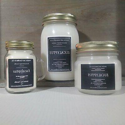 Eucalyptus - Essential Oil Candles | Soy Candles | Mason Jar