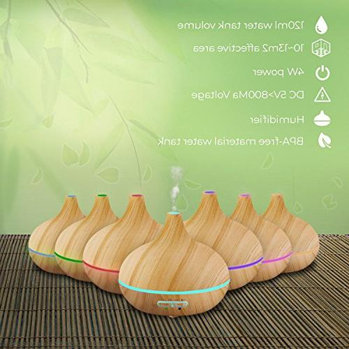Pure Daily Care Ultimate Aromatherapy Ultrasonic Diffuser & 10 Essential 350ml Timer & Ambient Light Settings - Therapeutic Grade Essential Oils Lavender