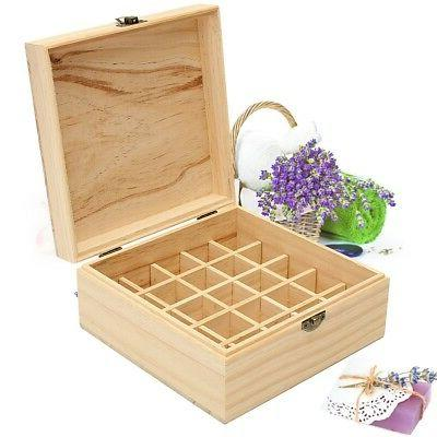 US 25 Slots Aromatherapy Essential Oil Wooden Storage Box Co