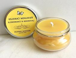 Lavender & Chamomile Beeswax Candle - Essential Oil Candle -