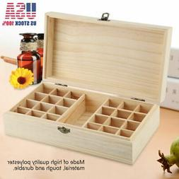 New 24 Slots Aromatherapy Essential Oil Storage Box Wooden C