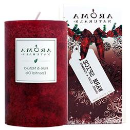 Aroma Naturals Holiday Essential Oil Scented Pillar Candle,