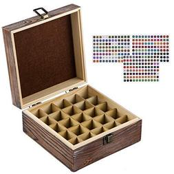 HABOM Rustic Essential Oil Wooden Storage Box - with 25 Slot
