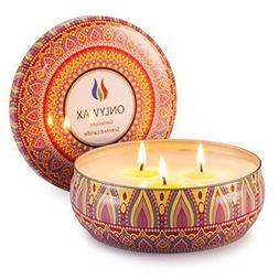 Onlywax Scented Candles Soy Wax 3 Wick Tin 70 Hour Burn,Esse